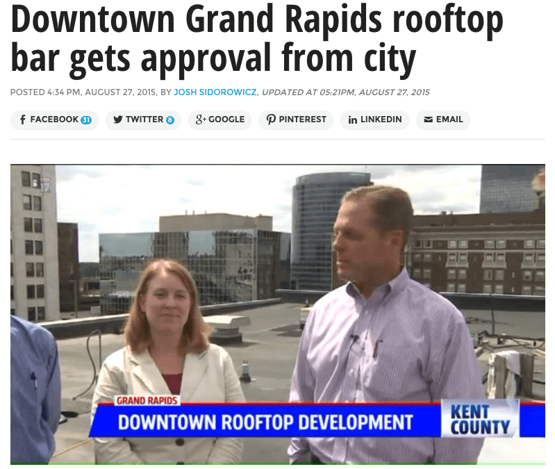 "In the Press: ""Downtown Grand Rapids rooftop bar gets approval from city"""